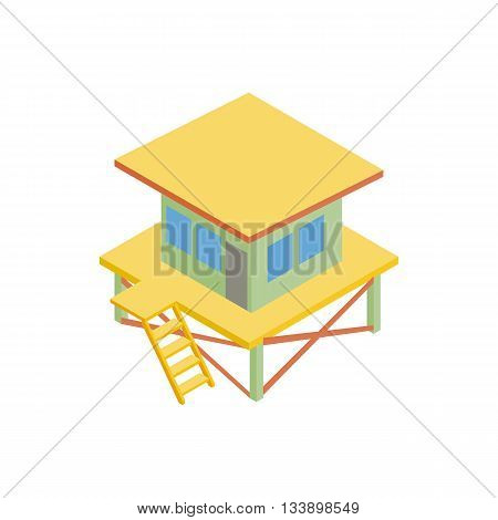 Rescue tower icon in isometric 3d style isolated on white background. Beach symbol