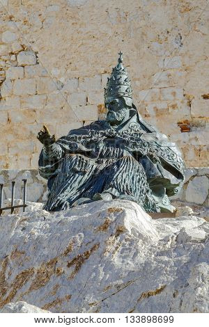 Peniscola Spain - March 5 2016 : Monument to Papa Luna in Peniscola Castle in Valencia Spain. This town is a great touristic site.