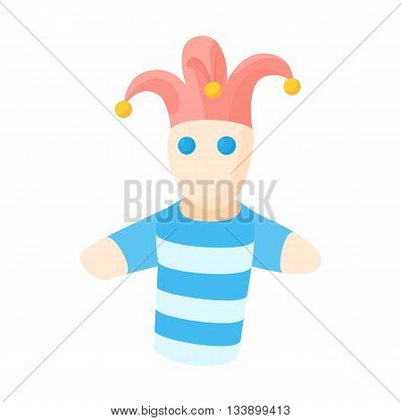 Jester doll icon in cartoon style on a white background