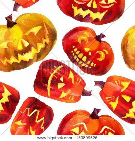 Pumpkin seamless pattern. Watercolor carved pumpkins. Jack-o'-lanterns background. Hand drawn illustration.