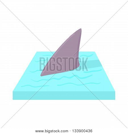 Shark in the sea icon in cartoon style on a white background
