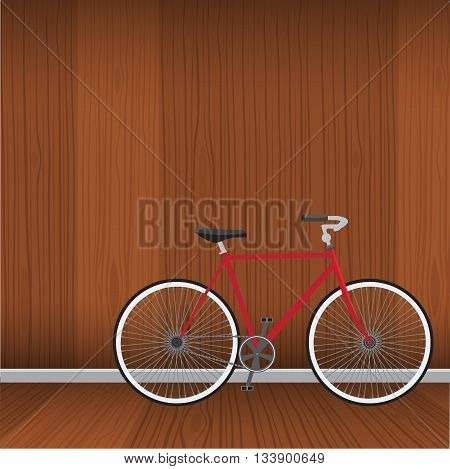 Bicycle with natural wood interrior background. Flat color style vector.