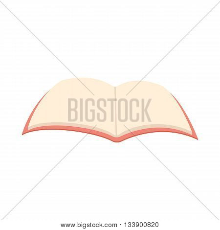 Blank opened book icon in cartoon style on a white background