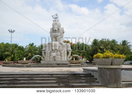 NHA TRANG, VIETNAM - JANUARY 01, 2016: The fountain of the Elephant, cloudy summer day in Nha Trang. Tourist landmark of the city Nha Trang, Vietnam