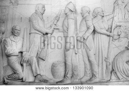 South Africa Pretoria - 28 June 2016: Voortrekker monument. Bas relief in the Hall of Heroes.