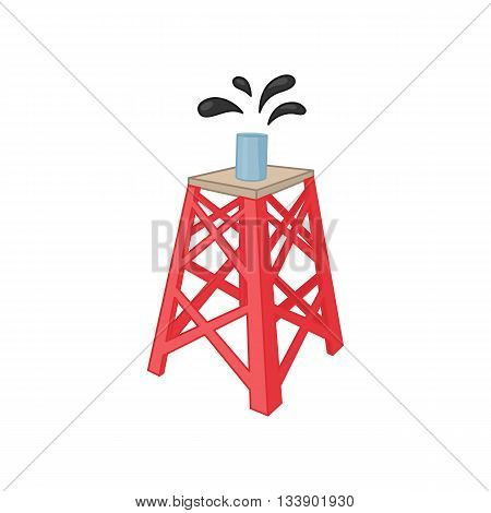 Oil rig icon in cartoon style on a white background