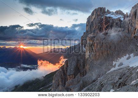 sunset landscape from Rosetta Mountain - San Martino di Castrozza, Italy