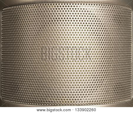 Silvery background from metallic net with round hole