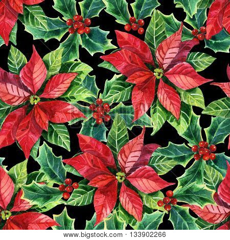 Christmas poinsettia seamless pattern, hand painted watercolor flower background