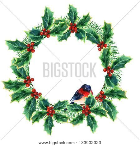 watercolor Christmas wreath with winterberries pine branches holly plant and bullfinch. Hand painted illustration