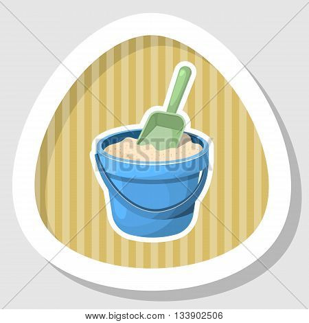 With sand bucket colorful icon. Vector illustration in cartoon style