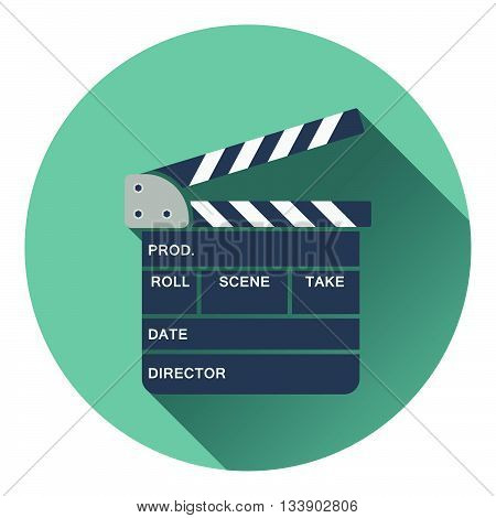 Clapperboard icon. Flat design in UI color. Vector illustration.