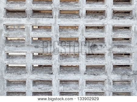 A white brick wall,Old cement wall with brick ventilation holes, wait Repair Paint.