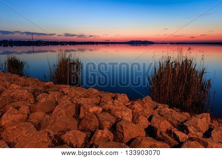 after sunset in the Danube Delta Romania