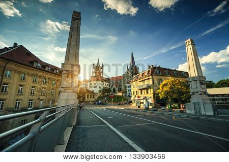 View on Lausanne Cathedral at sunset Switzerland