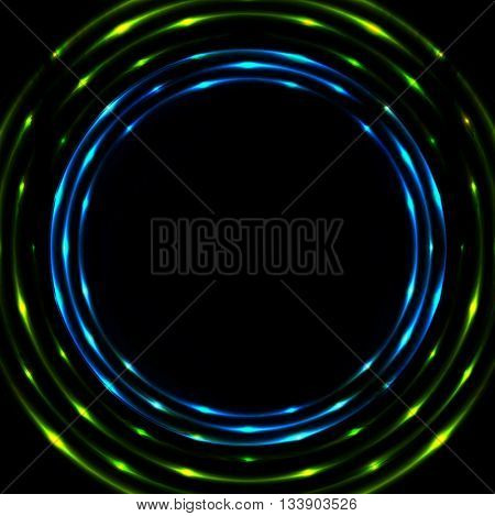 Blue green glowing circles background. Vector neon round circle shape glowing design