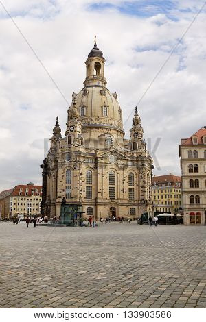 DRESDEN GERMANY - SEPTEMBER 17 2010: The Frauenkirche in Dresden Germany. It is a Lutheran church. It was destroyed in the bombing of Dresden during World War II and was rebuilt in 2005.