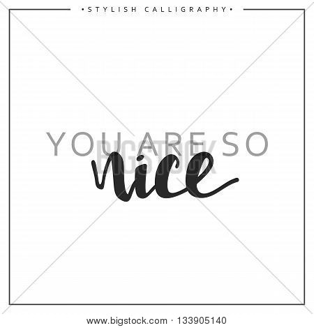 You are so nice phrase in handmade. You are so nice. Stylish, modern calligraphy. Elite calligraphy. Quote with swirls. Search for the design of brochures, posters, banners, web design.