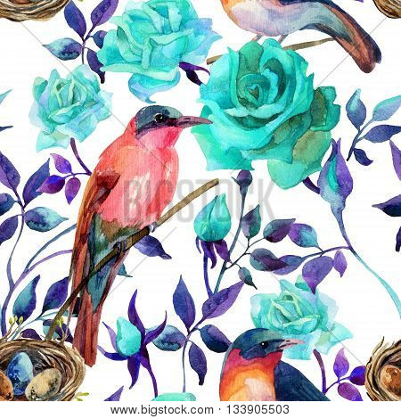 Watercolor birds on the blue roses. Hand painted seamless pattern on white background