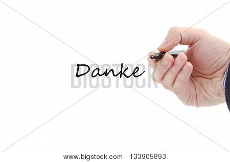 Danke text concept isolated over white background