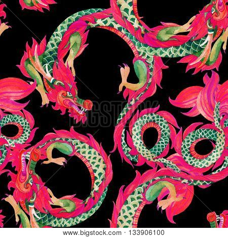 Chinese Dragon seamless pattern. Traditional symbol of dragon. Watercolor hand painted illustration on black background.