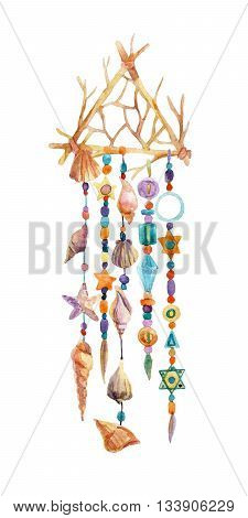 Dream catcher with colorful beads gems and sea shells. Watercolor ethnic dream catcher in triangle shape. Hand painted illustration for your design