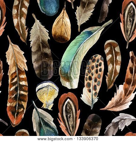 watercolor colorful feather background hand drawn illustration
