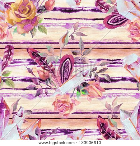 Watercolor crystal gems feathers and flowers seamless pattern. Hand painted illustration with minerals on pastel background for your design in boho retro style.
