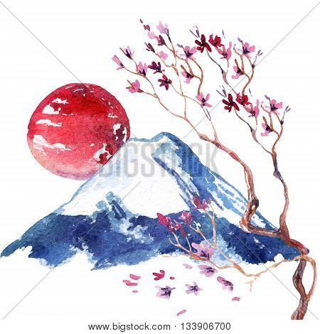 Watercolor japanese cherry blossom. Hand painted sakura flowers on fuji mountain background.