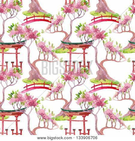 Watercolor bonsai tree footbridge and shrine gate illustration. Hand painted japanese seamless pattern