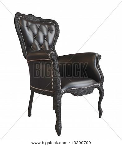 Comfy Black Leather Office Or Royal Armchair