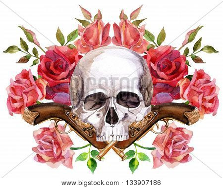 Watercolor human skull with guns and roses. Hand painted illustration