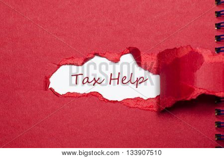 The word tax help appearing behind torn paper.