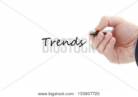 Trends text concept isolated over white background
