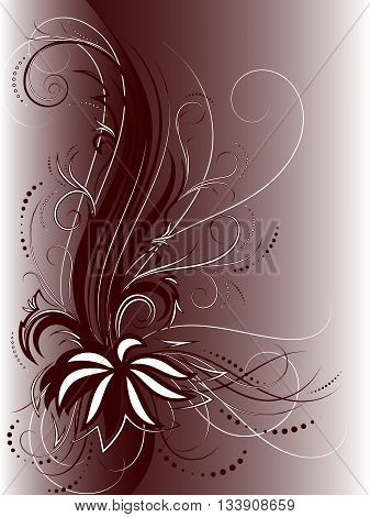 Curly pattern of flowers and petals on the dark background