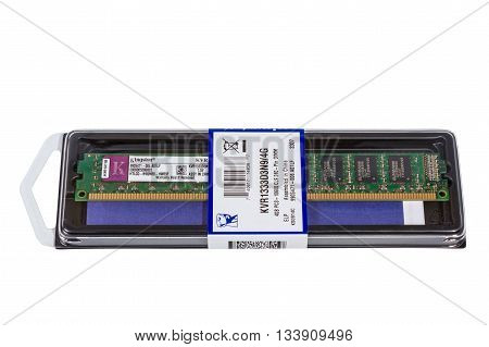 VOLGOGRAD RUSSIA - CIRCA MAY 2011: computer random access memory (RAM) modules DDR3 Form Factor on the white background
