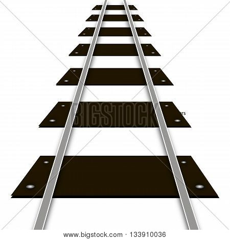 Railway rails and sleepers, vector art illustration.