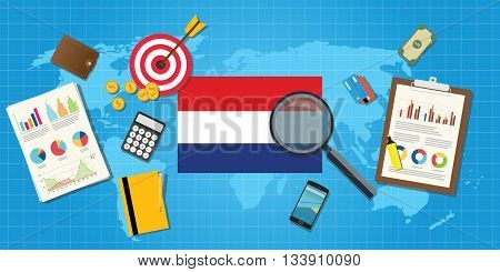 holland netherland economy economic condition country with graph chart and finance tools vector graphic illustration