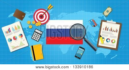 russia economy economic condition country with graph chart and finance tools vector graphic illustration