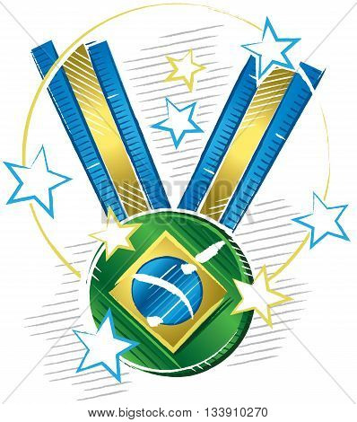 Colored drawing of a medal with a symbol of Brazil flag in sketch format with stars around