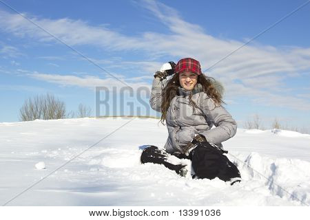 Girl Throwing Snow Ball