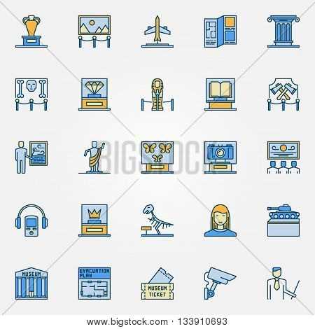 Colorful museum icons. Vector set of exposition symbols. Flat museum and exhibition signs