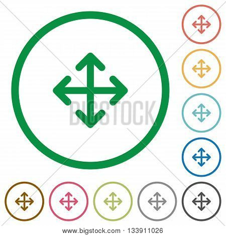 Set of move color round outlined flat icons on white background