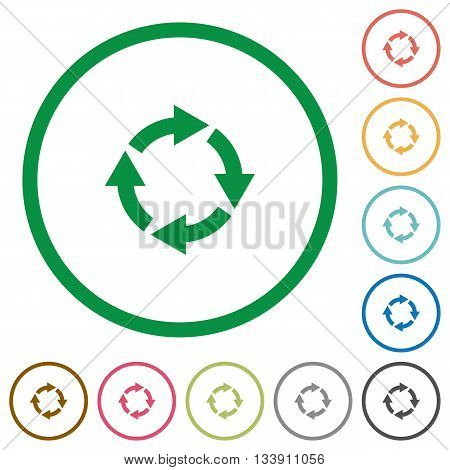 Set of Rotate right color round outlined flat icons on white background