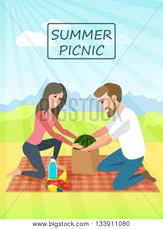 Picnic. Couple relaxing picnic on nature. Vacation and holiday picnic. Summer vacation.