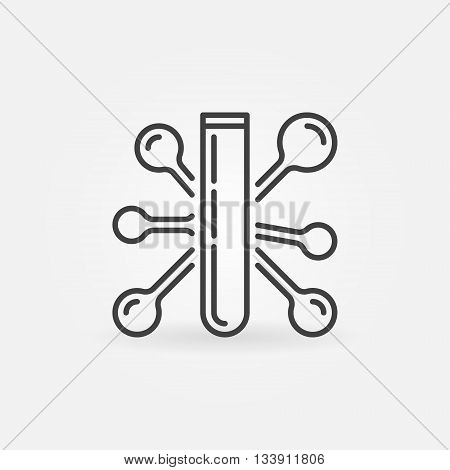 Test tube minimal icon - vector laboratory glass symbol with abstract molecule formula sign in thin line style