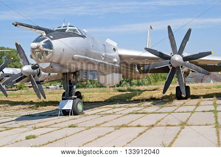 KYIV, UKRAINE -JULY 29, 2006: Tupolev Tu-142 maritime reconnaissance and anti-submarine warfare aircraft on exhibition at Zhuliany State Aviation Museum in Kyiv, Ukraine. Zhuliany State Aviation Museum is the largest aviation museum in Ukraine