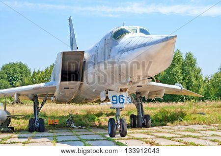 KYIV, UKRAINE -JULY 29, 2006: Tupolev Tu-22 aircraft on exhibition at Zhuliany State Aviation Museum in Kyiv, Ukraine. Zhuliany State Aviation Museum is the largest aviation museum in Ukraine