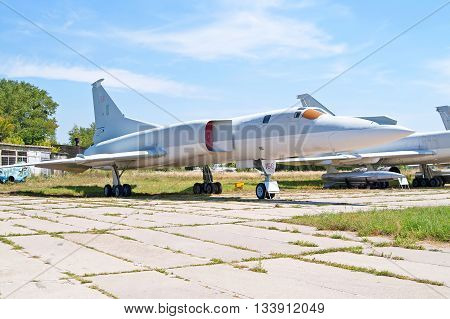 KYIV, UKRAINE - JULY 29 2006: Soviet bomber Tupolev Tu-22M (Backfire by NATO) displayed at Zhuliany State Aviation Museum in Kyiv Ukraine. Zhuliany State Aviation Museum is the largest aviation museum in Ukraine