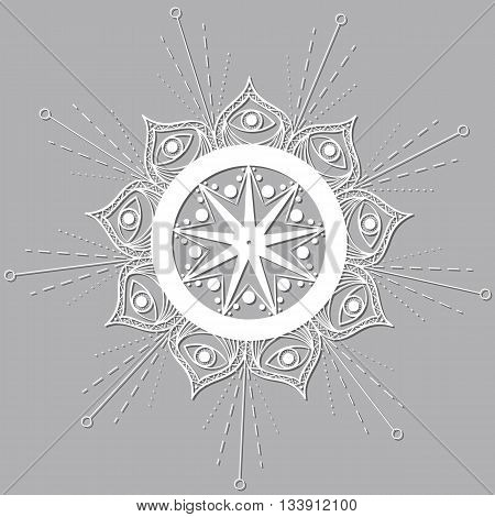 White mandala with the eye of a Buddha with a gray shadow